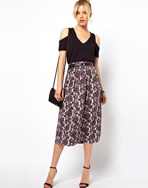 Image 1 of ASOS Midi Skirt in Paisley Print