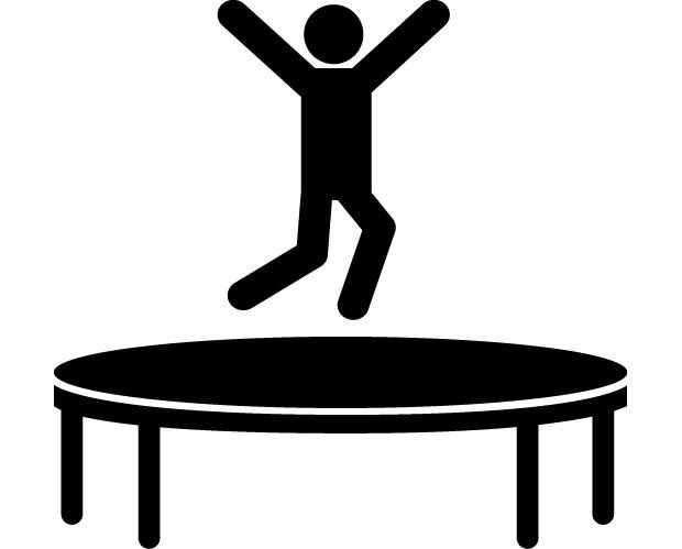 trampoline clipart black and white 27