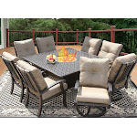 64 inch Square outdoor dining sets for 8 with Fire Table