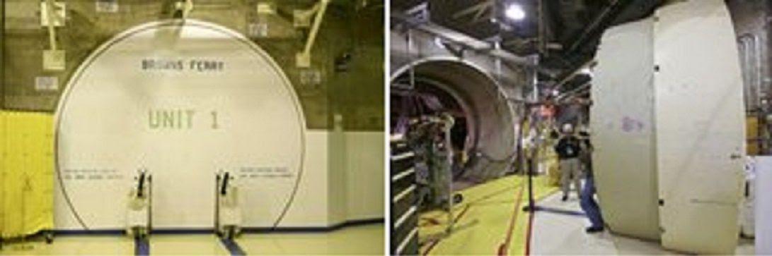 Fig. 81 : Exemple de portes d'enceinte de confinement fermée (à gauche) et ouverte (à droite)