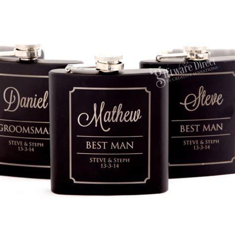 Personalised engraved black wedding hip flask set