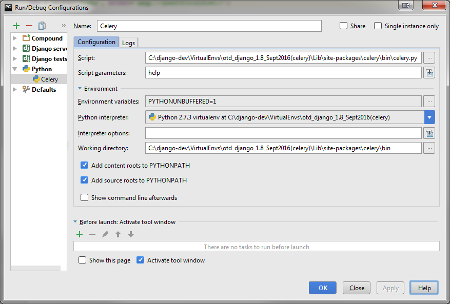 Configuring celery to run from PyCharm? - Google Groups