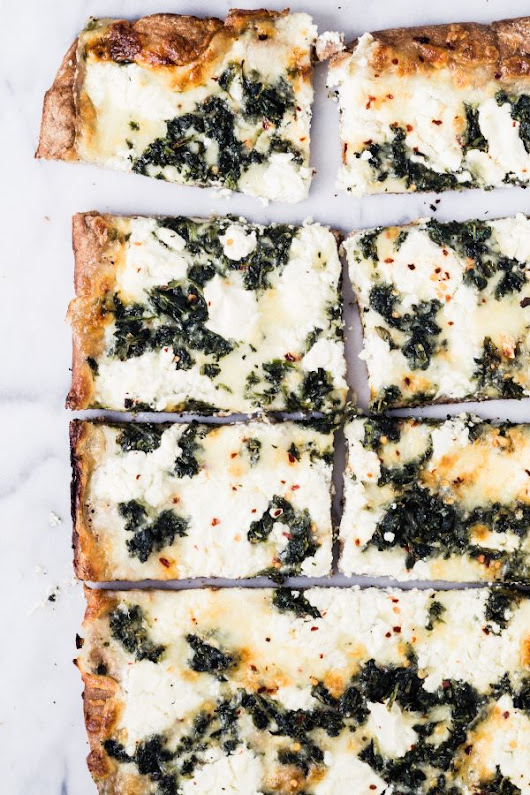 Whole wheat spinach goat cheese pizza