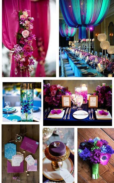 Jewel tone wedding colors   teal, aqua, royal blue
