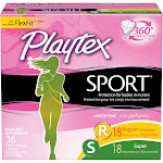 Playtex Sport Tampons, Plastic, Multi-Pack, Unscented - 36 tampons