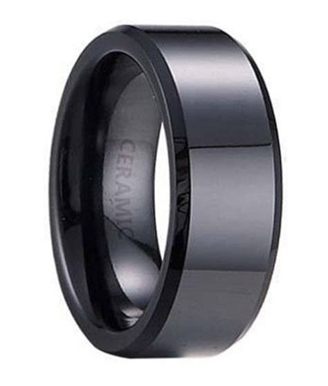 ceramic wedding band flat profile  beveled edges