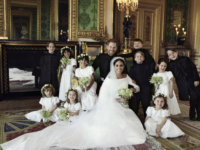 Meghan and Harry with their bridesmaids and page boys. Back row: Brian Mulroney, Remi Litt, Rylan Litt, Jasper Dyer, Prince George, Ivy Mulroney, John Mulroney. Front row: Zalie Warren, Princess Charlotte and Florence van Cutsem. Picture: Alexi Lubomirski/Kensington Palace via AP