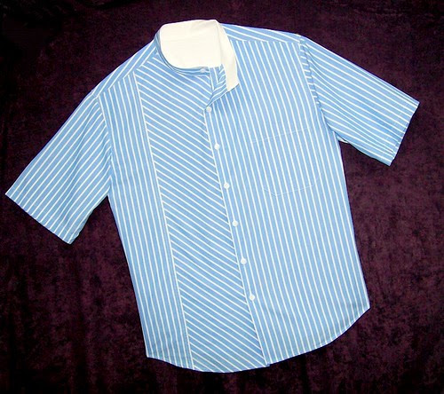 """""""Folded Band Collar"""" Shirt with Bias Details"""