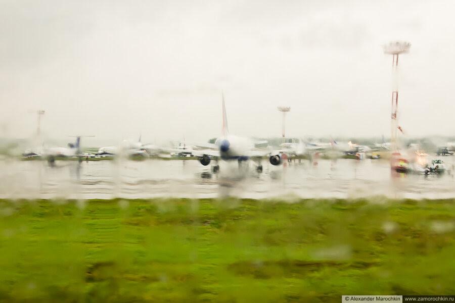 Дождь в аэропорту Домодедово