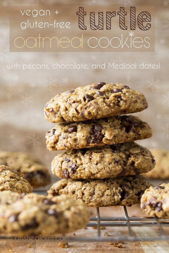 Turtle Oatmeal Cookies with Pecans, Chocolate, and Medjool Dates