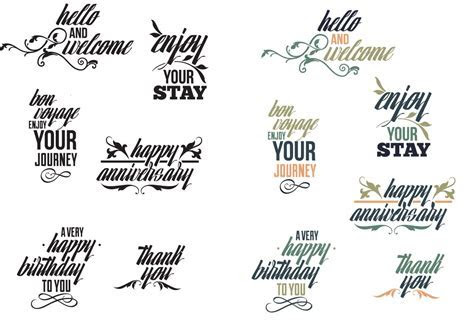 Common phrases typography set vector   Free download
