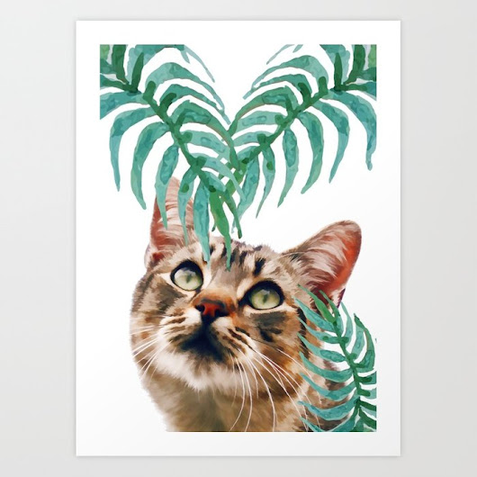 Leaf and cat Art Print by littleb | Society6