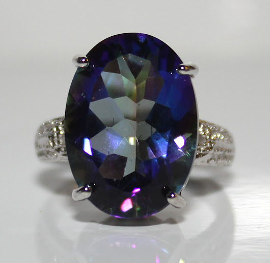 Gorgeous Brand New Large 11.42ctw Mystic Gemstone & Natural Diamonds Platinum Over .925 Silver Ring