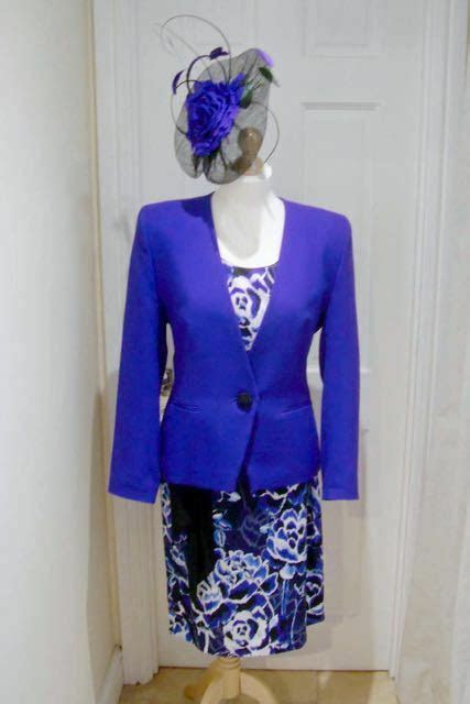 jacques vert cobalt blue black dress jacket