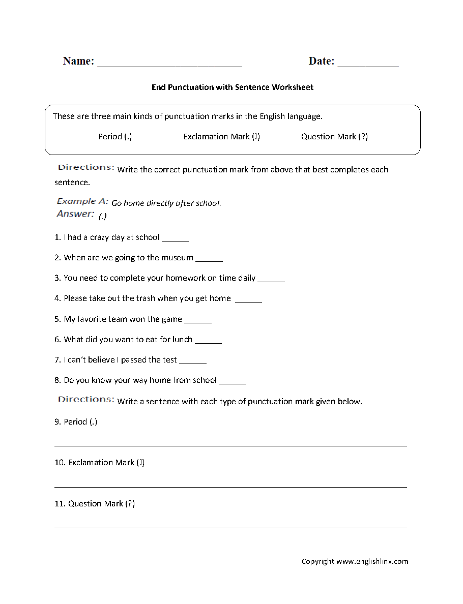 Punctuation Worksheets Ending Punctuation Worksheets