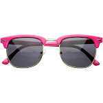 Retro Brow Multi-Color Half Frame Style Horn Rimmed Sunglasses, Pink