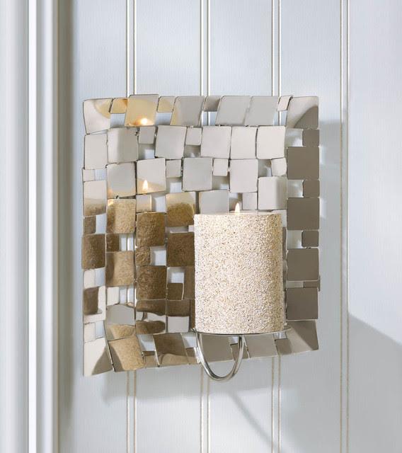 Malibu Creations Modern Silver Mosaic Wall Sconce ...
