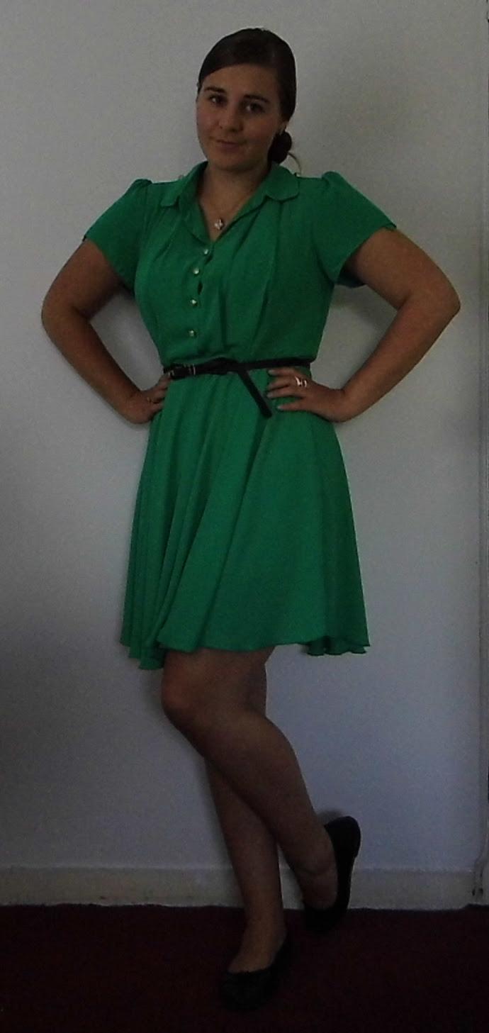 Green Tea Dress, Betty London Shoes