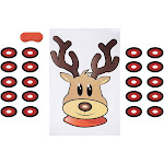 Pin The Nose on The Reindeer Game - 2-Pack Christmas Party Fun Game Supplies, Holiday Festive Gifts Favors for Kids and Adults, Santa's Reindeer
