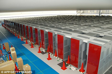 High-tech: The K supercomputer at Riken's laboratory in Kobe, contains 672 racks with a total of 68,544 CPUs