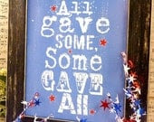 All gave some sign American digital  - blue 4th of july uprint art words vintage style primitive paper old pdf 8 x 10 frame saying