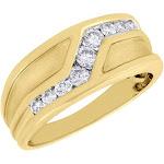 10K Yellow Gold Genuine Diamond Wedding Band Brushed Channel Set Ring 0.50 ct.