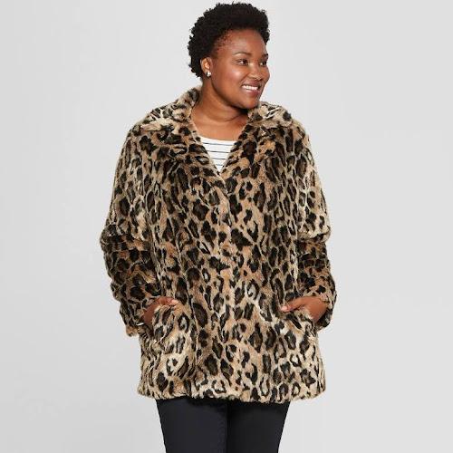 Ava   Viv Women s Plus Size Leopard Print Faux Fur Coat 612be91f1