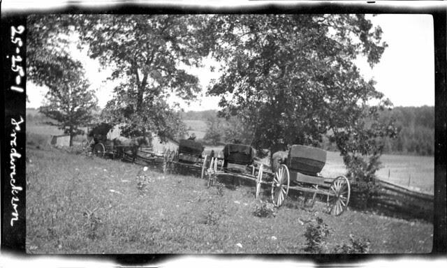 wagons at lake