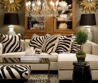 Zebra Pillows - Contemporary - living room