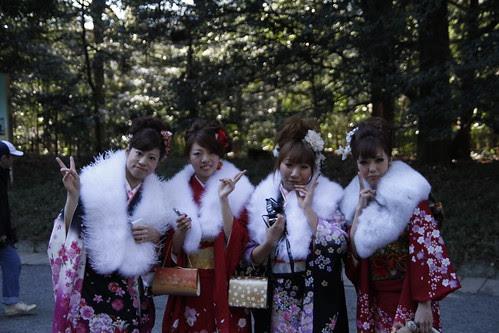 Groups of ladies in kimono