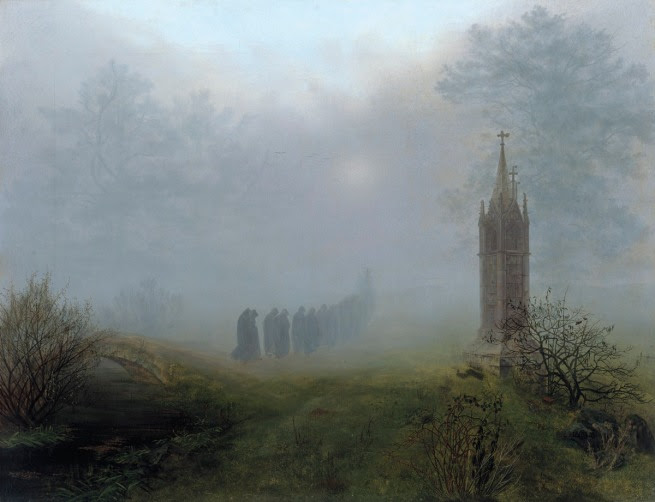 Ernst Ferdinand Oehme. (1797–1855) 'Procession in the Fog' 1828