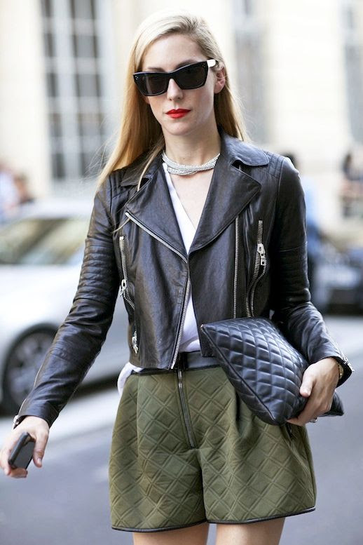 Le Fashion Blog Editor Street Style Joanna Hillman Sunglasses Black Cropped Leather Moto Jacket White Tee Quilted Clutch Green Shorts Via Popsugar
