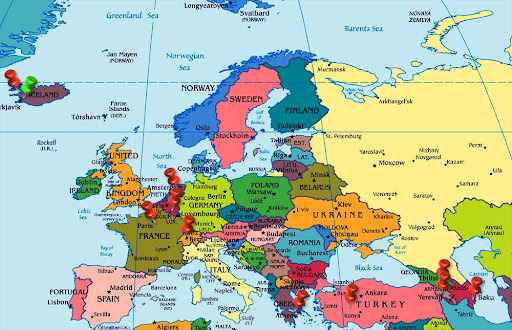 Latitude Map Of Europe.Description Latitude And Longitude Map Of Europe Continent Showing