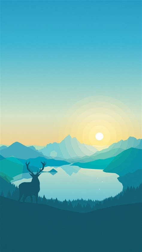 wallpaper flat forest deer   iphone wallpaper