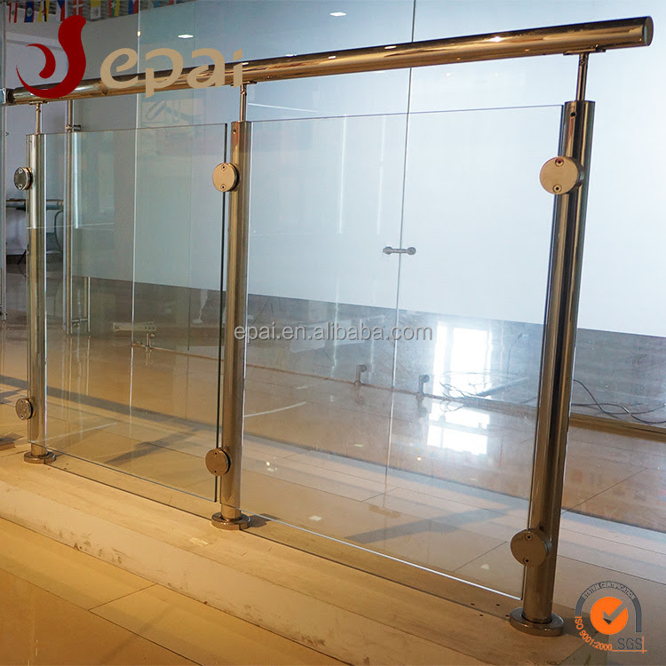 Modern Balcony Stainless Steel Glass Railing Design With High