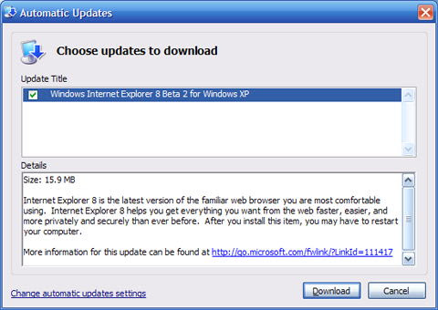 Auto Update of IE 8 beta software