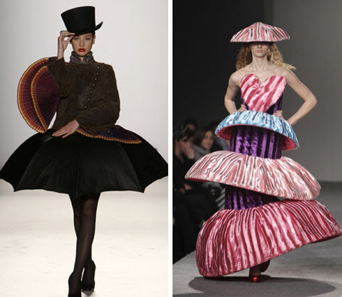 left, a creation by designer Dimitris Dassios during fashion week in Athens March 27, 2010-REUTERS/Yiorgos Karahalis; right, a creation by Spanish designer Agatha Ruiz De La Prada during Georgian Fashion Week in Tbilisi March 28, 2010-REUTERS/David Mdzinarishvili