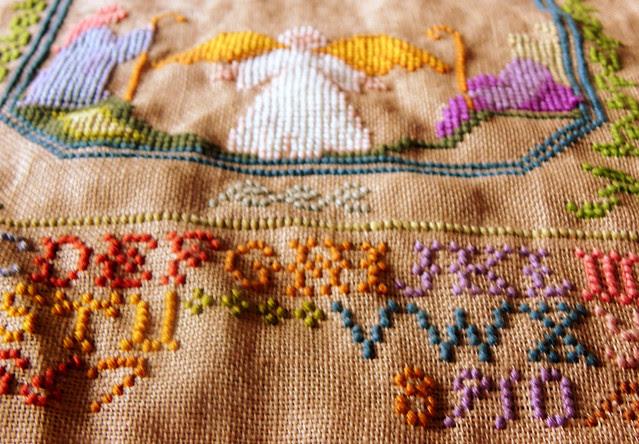 Embroidered Sampler Stocking