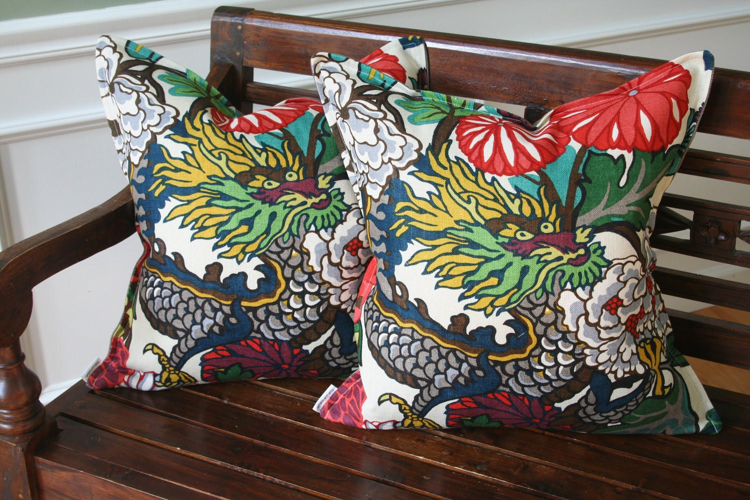 Decorative Pillow Cover- 20 x 20- Chiang Mai Dragon by F. Schumacher- Alabaster