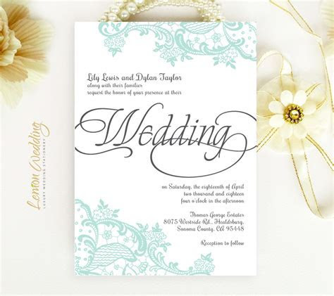 Mint Green Wedding Invitations   LemonWedding
