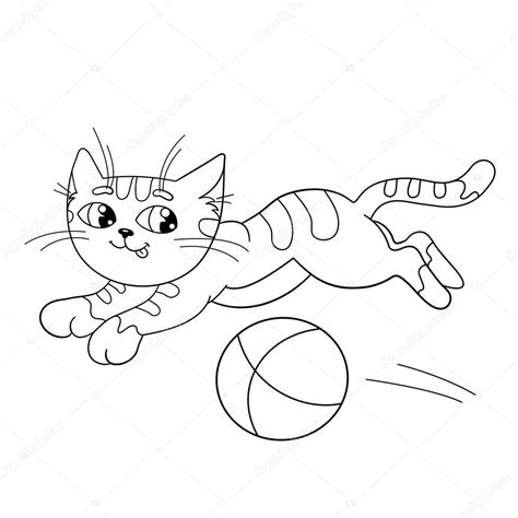 coloring page outline   fluffy cat playing  ball