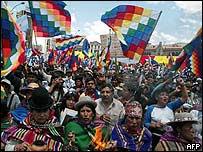 Indígenas bolivianos en La Paz en octubre de 2006
