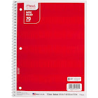 Mead Wide Ruled Spiral Notebook, Red Stripes