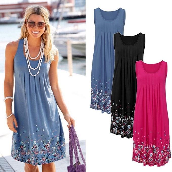 Vestido Moda Floral Praia (Sem mangas) - Melhores Vestidos do Site AliExpress