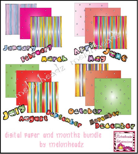 Digital paper and months bundle