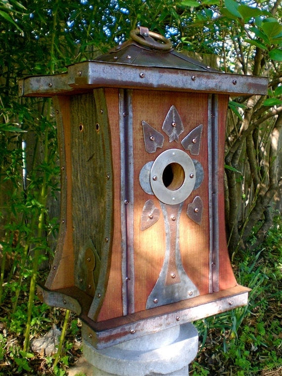 Art Deco Birdhouse Made of Reclaimed Barn Wood and Metal Roofing