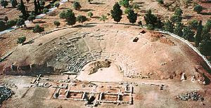 English: aerial view of the Eretria ancient th...