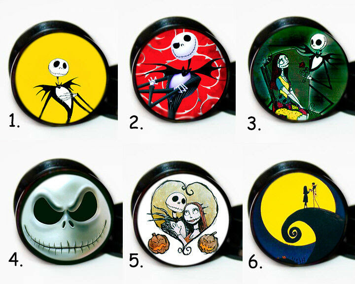 Select 1 Pair Nightmare Before Christmas Ear Gauges Tunnels Screw ...
