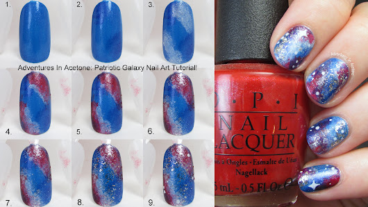 Tutorial Tuesday: Patriotic Galaxy Nail Art - Adventures In Acetone