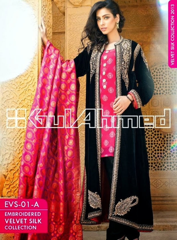 Mens-Women-Wear-Beautiful-Embroidered-Silk-Velvet-Long-Coats-by-Gul-Ahmed-New-Fashion-3